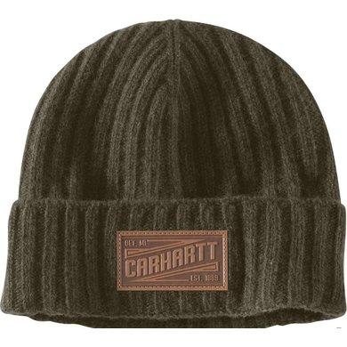 Carhartt seaford beanie | peat - groen | lamswollen muts