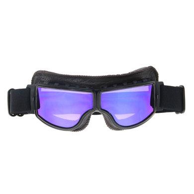 CRG zwart, donkerbruin leren cruiser motorbril