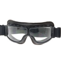 black, dark brown leather cruiser motor goggles