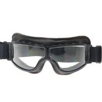 zwart, donkerbruin leren cruiser motorbril
