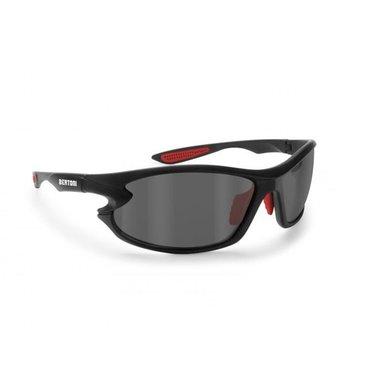 Bertoni polarized P676C motorbril zwart met rood - smoke glas