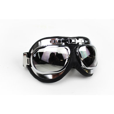 Racer chrome motor goggles clear glass