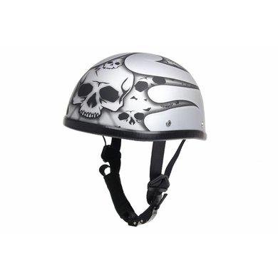 burning skull matt silver chopper helmet