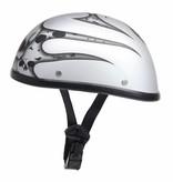 burning skull mat zilver chopper helm