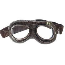 dark vintage motorbril helder glas