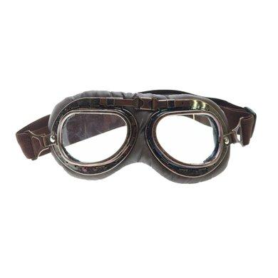CRG dark vintage motorbril helder glas