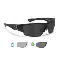 polarized P1001FTA motorbril matzwart - smoke glas