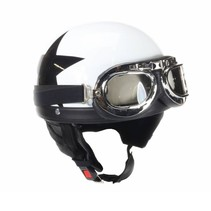 Retro, white half helmet black star | outlet