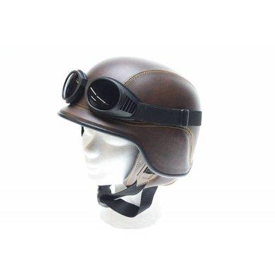 Brown leather army chopper helmet