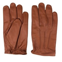 classic unlined nappa brown leather gloves