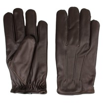 classic fleece lined dark brown leather driving gloves