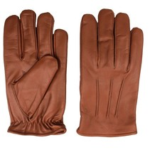 classic fleece lined nappa brown leather gloves