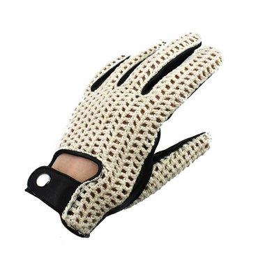 Swift vintage crochet leren handschoenen zwart