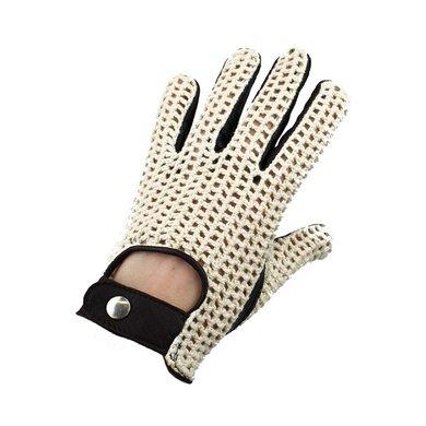 Swift vintage crochet leather gloves dark brown