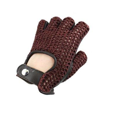 Swift vintage fingerless crochet leather gloves black-brown
