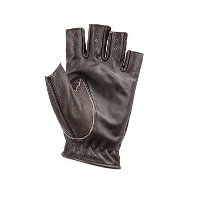 Swift driver fingerless leather driving gloves dark brown