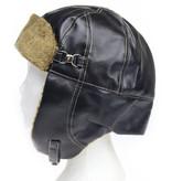Vintage pilotenmuts met motorbril