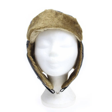 Vintage aviator hat cap with motor goggles
