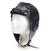 Black aviator hat with motor goggles