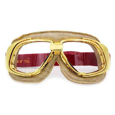 Ediors retro goud, beige leren motorbril