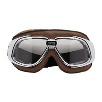 chrome, brown leather motor goggles