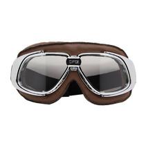 chrome, bruin leren motorbril