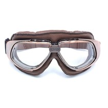 vintage, brown leather motor goggles