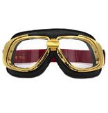 Ediors retro goud, zwart leren motorbril