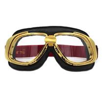 retro goud, zwart leren motorbril