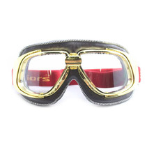 retro gold, brown leather motor goggles