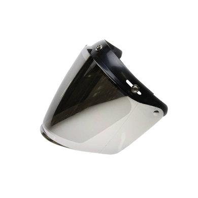 U flip up 3 button visor silver reflection