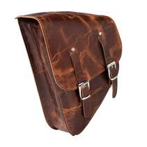 brown leather motor saddle bag triangle