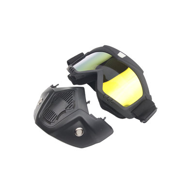 Black goggle mask - gold mirror lens