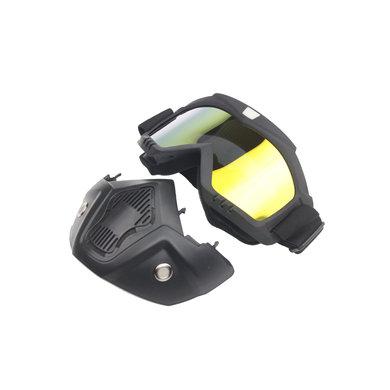 Black goggle mask - goud reflectie lens | helm masker