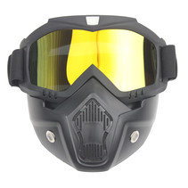 Black goggle mask - gold mirror lens