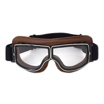brown leather cruiser motor goggles