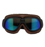 CRG retro, bruin leren motorbril