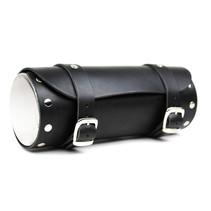 black leather motor tool bag chrome