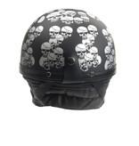 Chopper half helmet matt black multi skull