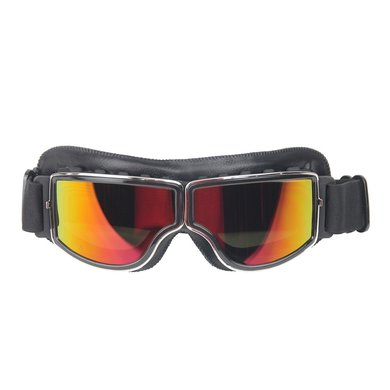 CRG black leather cruiser motor goggles