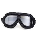 CRG retro, zwart leren motorbril