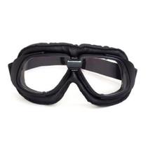 retro, zwart leren motorbril