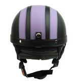 Vintage black - purple leather half helmet