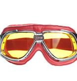CRG retro, chrome rood leren motorbril
