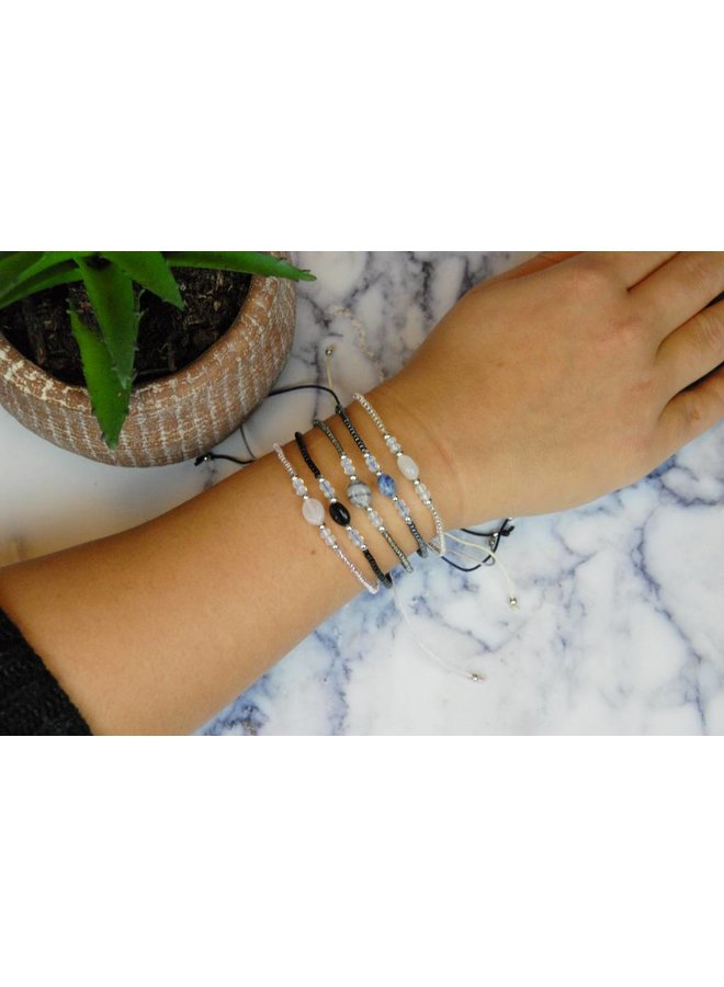 Jozemiek Silver Bead Bracelet Open Square - Copy