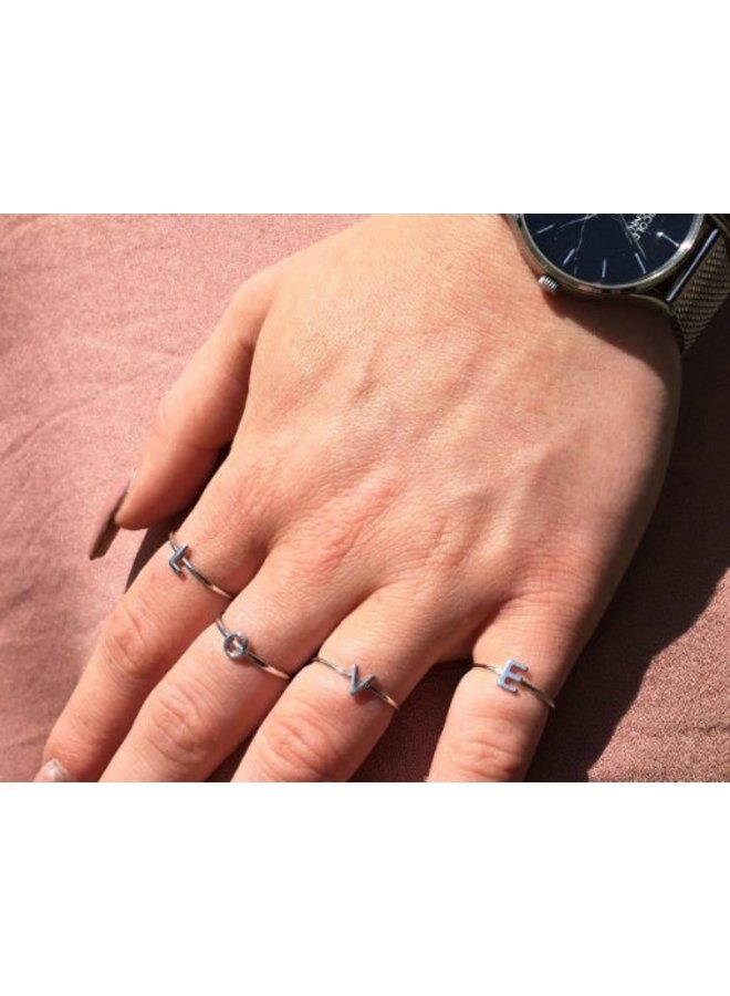 Initiaal ring - zilver