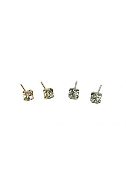 Jozemiek ® VINTAGE  stone Stud earring silver or gold