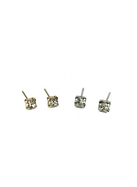 Jozemiek ® VINTAGE  stone Stud oorbel  zilver of goud