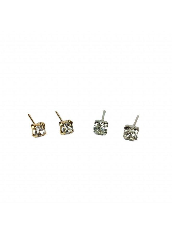 VINTAGE Stein Ohrringe Silber oder Gold