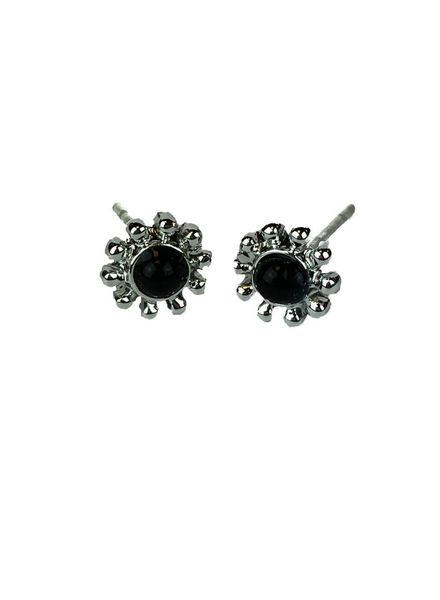 Jozemiek ® VINTAGE FLOWER BLACK Stud oorbel  zilver